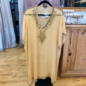 Fabulous beaded coverup in saffron 🌻